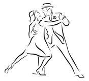 Silueta de los bailarines del tango sobre el fondo blanco Imagenes de archivo