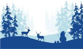 Silueta de los ciervos y del muñeco de nieve del paisaje de la Navidad Fotografía de archivo