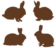 Silueta de los conejos Imagenes de archivo