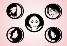 Silueta de los estilos de pelo de las mujeres del vector Imagen de archivo libre de regalías