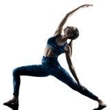 Silueta de los excercises de la yoga de la aptitud de la mujer Imagen de archivo libre de regalías