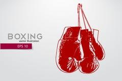 Silueta de los guantes de boxeo stock de ilustración
