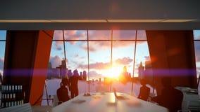 Silueta de los hombres de negocios del equipo, horizonte de la ciudad de la vista posterior en la puesta del sol ilustración del vector