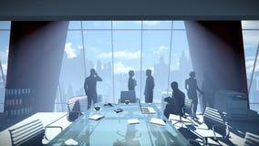 Silueta de los hombres de negocios del equipo, paisaje urbano de la vista posterior ilustración del vector