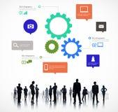 Silueta de los hombres de negocios globales del gráfico de la información Imagenes de archivo