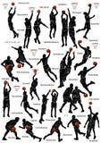 Silueta de los jugadores de básquet Foto de archivo libre de regalías