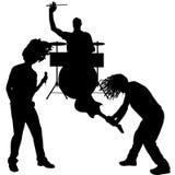 Silueta de los músicos del vector Imagenes de archivo