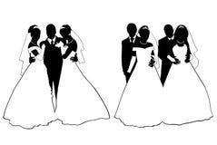 Silueta de los pares de la boda Imágenes de archivo libres de regalías