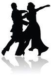 Silueta de los pares de la danza del oscilación Foto de archivo libre de regalías