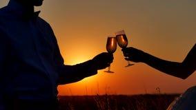 Silueta de los pares que gozan del vidrio de vino del champán Pares románticos en puesta del sol de la silueta de la naturaleza d almacen de video