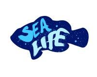 Silueta de los pescados del color con vida marina del texto de las letras Ilustración del vector Fotografía de archivo