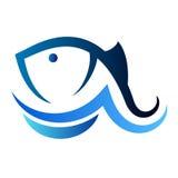 Silueta de los pescados y de la onda Imagen de archivo libre de regalías