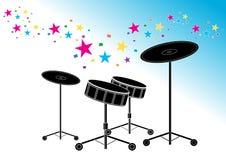 Silueta de los tambores Foto de archivo libre de regalías