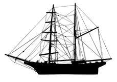 Silueta de madera del vector del barco pirata Vela lejos libre illustration