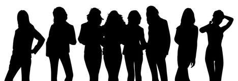 Silueta de muchachas Fotografía de archivo