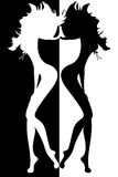 Silueta de mujeres atractivas Imagen de archivo libre de regalías