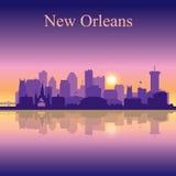 Silueta de New Orleans en fondo de la puesta del sol Imágenes de archivo libres de regalías