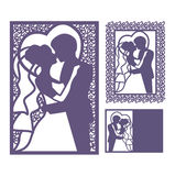 Silueta de novia y del novio Invitación del corte del laser fotografía de archivo