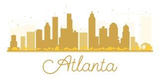 Silueta de oro del horizonte de la ciudad de Atlanta stock de ilustración