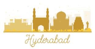 Silueta de oro del horizonte de la ciudad de Hyderabad stock de ilustración