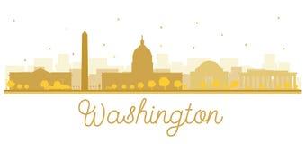 Silueta de oro del horizonte de la ciudad de la C.C. de Washington Imagen de archivo libre de regalías