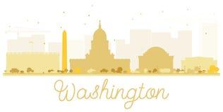 Silueta de oro del horizonte de la ciudad de la C.C. de Washington Fotografía de archivo libre de regalías