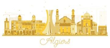 Silueta de oro del horizonte de la ciudad de Argel Argelia stock de ilustración