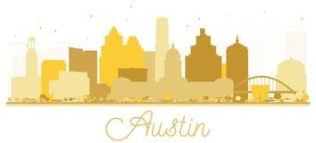 Silueta de oro del horizonte de la ciudad de Austin Texas los E.E.U.U. ilustración del vector