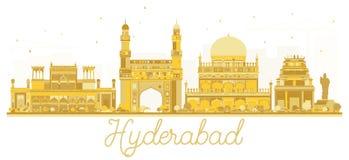 Silueta de oro del horizonte de la ciudad de Hyderabad la India stock de ilustración