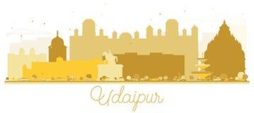 Silueta de oro del horizonte de la ciudad de Udaipur la India