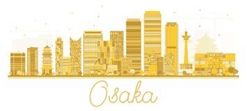 Silueta de oro del horizonte de Osaka Japan City stock de ilustración