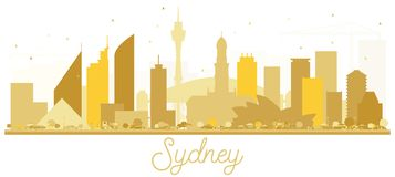 Silueta de oro del horizonte de Sydney Australia City stock de ilustración