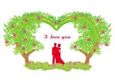 Silueta de pares románticos Imagenes de archivo