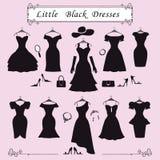 Silueta de pequeños vestidos de fiesta negros Moda Imágenes de archivo libres de regalías
