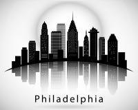 Silueta de Philadelphia, estados de Pennsylvania los Estados Unidos de América Horizonte de la ciudad Foto de archivo