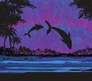 Silueta de saltar de dos delfínes del agua stock de ilustración