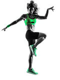 Silueta de salto de los ejercicios de la aptitud de la mujer Foto de archivo libre de regalías