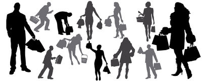 silueta de shoping Imagen de archivo libre de regalías