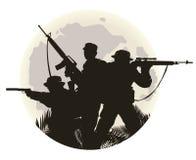 silueta de soldados Imagen de archivo libre de regalías