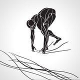 Silueta de At Starting Block del nadador Imagen de archivo libre de regalías