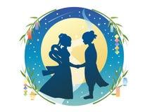 Silueta de Tanabata stock de ilustración