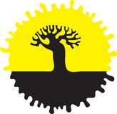 Silueta de un árbol. Imágenes de archivo libres de regalías