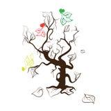 Silueta de un árbol y de palomas Fotografía de archivo libre de regalías