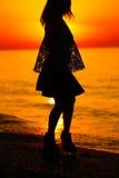 Silueta de un baile de la señora por el mar Imágenes de archivo libres de regalías