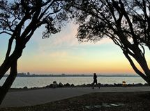 Silueta de un basculador que corre en la puesta del sol con el cielo colorido Fotografía de archivo