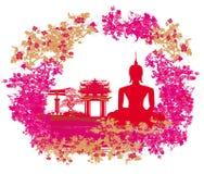 Silueta de un Buda, paisaje asiático en textura del grunge