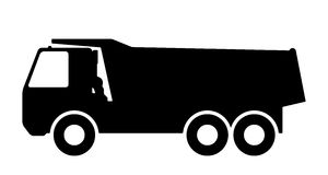 Silueta de un camión volquete en el fondo blanco Fotos de archivo