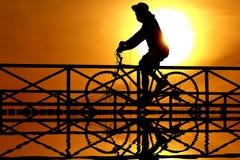 Silueta de un ciclista Fotografía de archivo libre de regalías