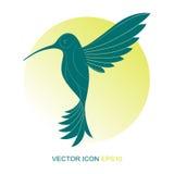 Silueta de un colibrí LOGOTIPO Un icono plano Ilustración del vector Una clase de pájaro con un lado Fotos de archivo libres de regalías