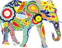 Silueta de un elefante con diseños indios Imágenes de archivo libres de regalías
